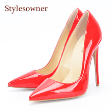 stylesowner Brand Women Shoes High Heels Women Pumps 12CM 10.5CM Heels Shoes Sexy Pointed Toe Red Wedding Shoes 34-43EU