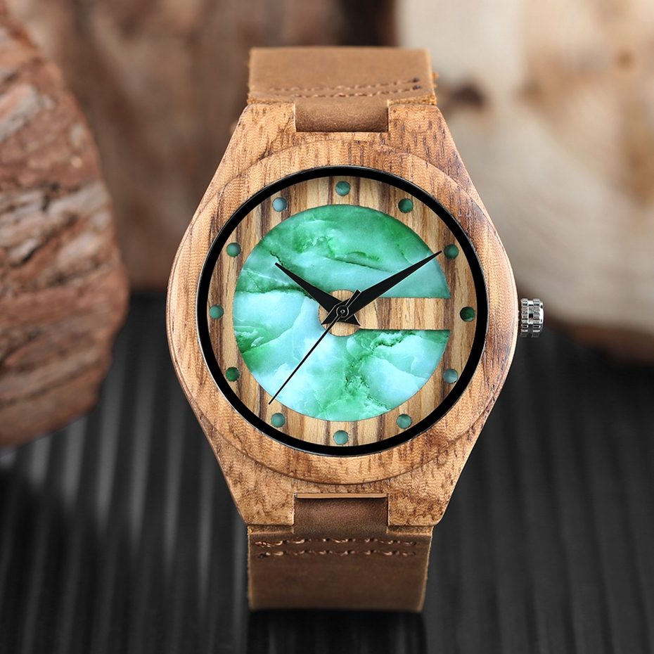 Unique Letter C Shape Luxury Green Marble Dial Men's Watch Genuine Leather Wooden Watches Quartz Watches Men Relogio Masculino Gifts (7)