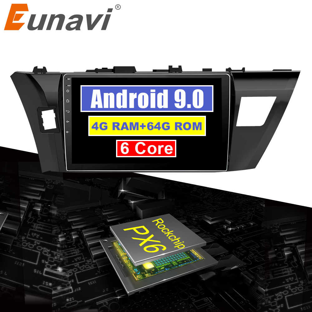 Perfect Eunavi 4G+32G Octa 8 core android 9.0 car dvd for Toyota Corolla E180 2013-2016 multimedia car radio gps navi PX6 Radio WIFI 0