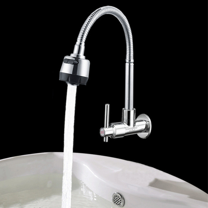 Free shipping High quality single cold kitchen sink mixer tap with inwall mounted polished kitchen sink