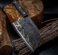 XYj Full Tang Butcher Chef Knife Kitchen Knife Handmade Wild Forged High Carbon Clad Steel Cleaver Filleting Slicing Broad Knife