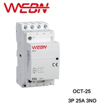 OCT-25 Series AC Household Contactor 400V 50/60Hz 3P 25A 3NO Three Normal Open Contact Din Rail Contactor