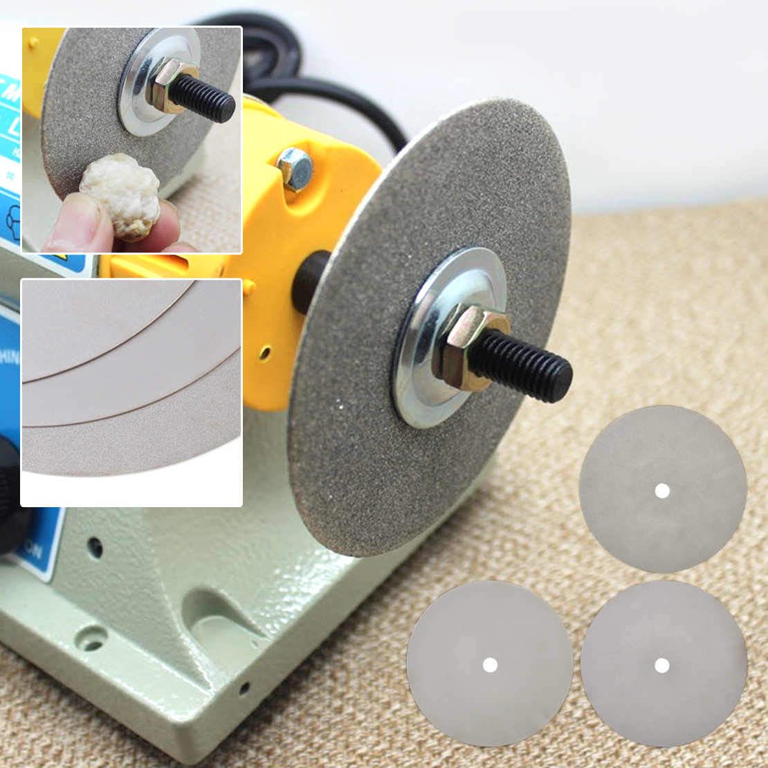 "LETAOSK 6"" Lapidary Grinding Polishing Wheel Disk Grit 500/1200/3000 Diamond Coated Flat Lap"