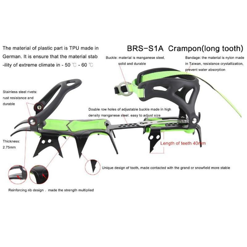 BRS-S1A catorce dientes incluido crampones profesional de acero inoxidable agarre hielo de senderismo escalada equipo kits de viaje - 6