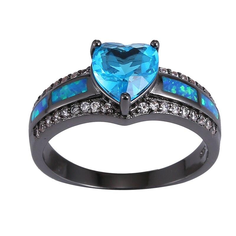 Amorui moda amor corazón blanco púrpura cúbicos zirconia cristal anillo mujeres Anillos negro oro azul OPAL moda mujer joyas anillos