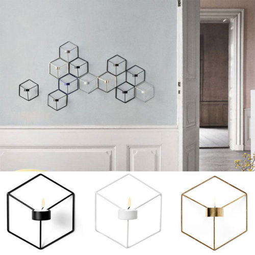 DIY Wall Mounted 3D Geometric Candlestick Tea Light Candle Holder Metal Candlestick Home Decor NEW 4