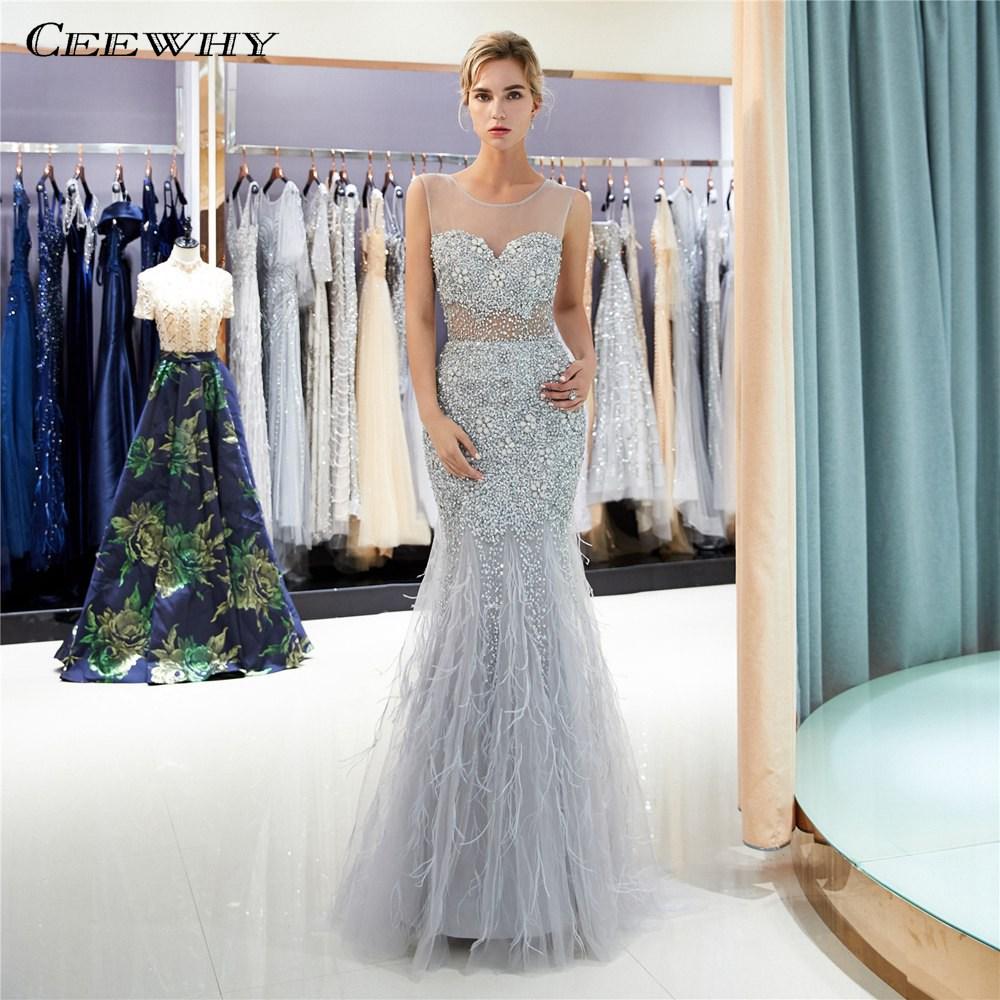 837faabc2d62913 CEEWHY Abendkleider Дубай торжественное платье Для женщин элегантные платье  с русалочкой Роскошные вечерние платья из бисера
