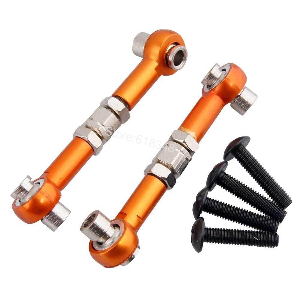 2Pcs Adjustable Front / Rear Aluminum Steering Turnbuckle Linkage Servo Link For HPI WR8 Flux 107905 black sliver aluminum steering linkage