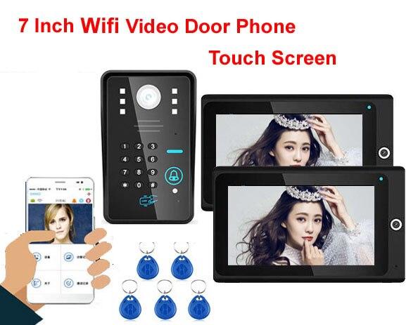 Mountainone интеллектуальные WI-FI сети проводной 7 видео-телефон двери с анти-сигнализация удостоверения личности и пароль разблокировки движени... ...