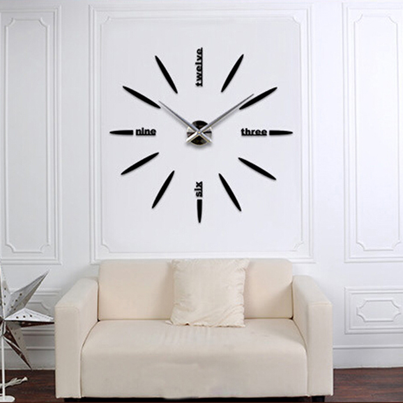 Quartz DIY Modern Clocks Needle Acrylic Watches Big Wall Clock Mirror Sticker Living Room Decor In From Home Garden On Aliexpress