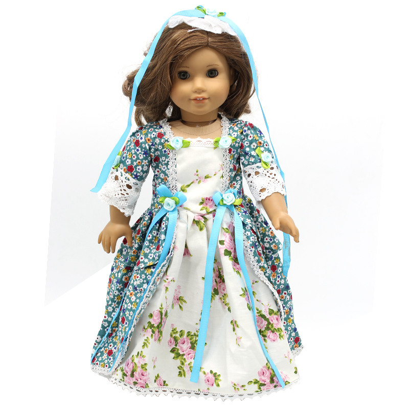 American Girl Dolls Clothing 6 Styles Elegant Color Flower Print Long Dress for 18 inch Doll Clothes Accessories Girl X-40 american girl doll clothes halloween witch dress cosplay costume for 16 18 inches doll alexander dress doll accessories x 68