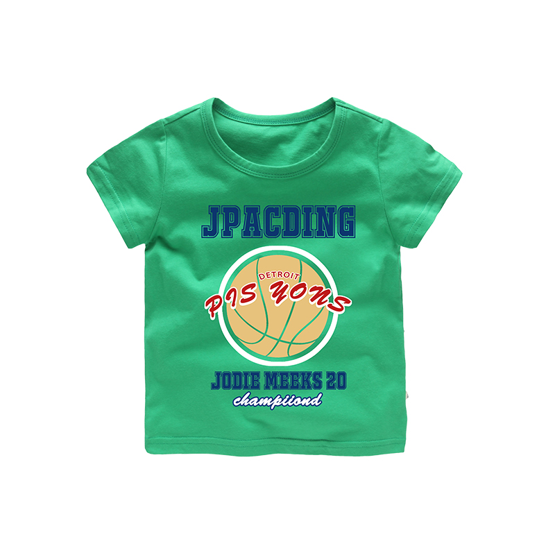 2018 Sports Basketball Cartoon Pattern Boys T-shirt boy cloth summer kids tops Casual Fashion Red Green Baby Blue Cotton Clothes