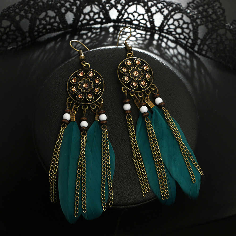 Beautiful Women Earrings Feather Round Dream Catcher Hollow Earrings Bijoux Tassel Long Earring Superb Pendientes Oorbellen
