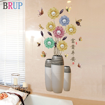 70*112cm Vase Flower Wall Stickers Art Butterfly Flowers Home Decor for Bedroom Vinyl DIY Wall Decals Lovely Rooms Decoration 1