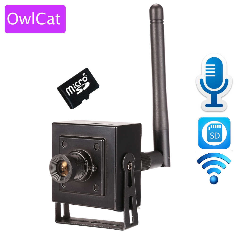 owlcat small mini ip camera wifi hd 960p 720p wireless cctv network cam microphone audio sd card. Black Bedroom Furniture Sets. Home Design Ideas
