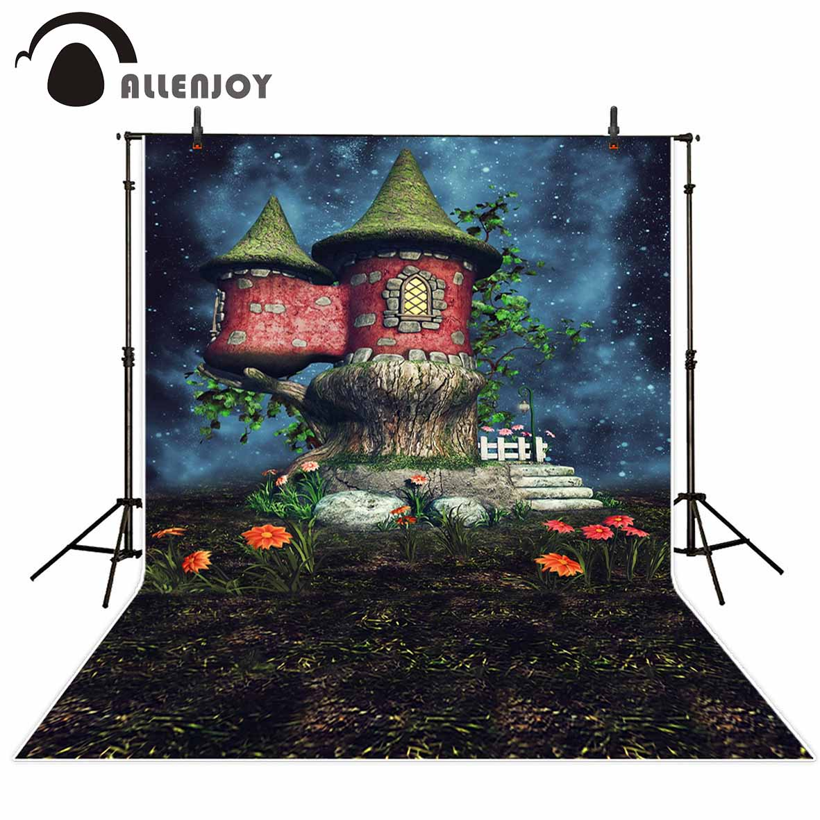 Allenjoy photography backdrops Children background fairy tale house flowers starry sky Background for photo studio fond