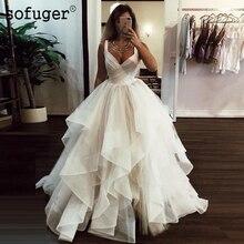 Long Ivory Ruffled Tulle Elegant V-Neck Straps Ruched Puffy Bridal Wedding Dress Dubai Arabic Sofuge Gelinlik 2019 Boho