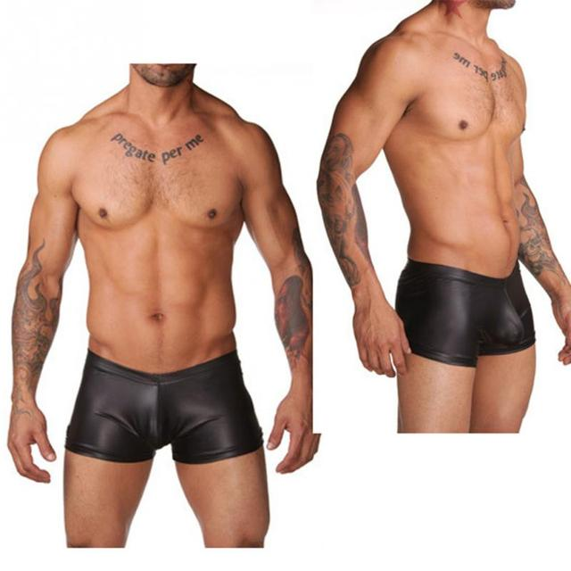 2018 Sexy Men Faux Leather Swimming Briefs Shorts Trunks Pant Nightwear Underwear Shorts