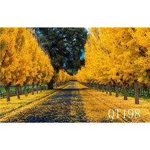 LB Polyester & Vinyl Backdrops Background For Photography Studio Backdrop Photo Props Autumn Highway Covered With Fallen Leaves(China)