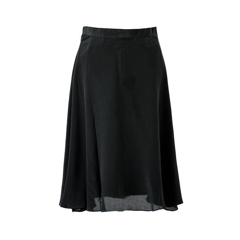 100 2018 De Mode Réel Été 16mm Femmes Soie Longueur Genou Jupe Printemps Au Nouveau Crêpe Noir Jupes PPrHqnw7O