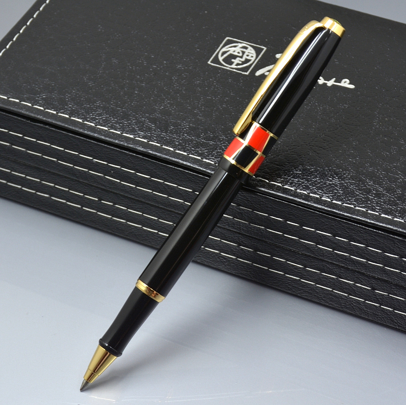 Luxury Picasso brand black metal roller ball pen with Gold clip school office stationery writing birthday gift ball pens black jinhao ballpoint pen and pen bag school office stationery brand roller ball pens men women business gift send a refill 013