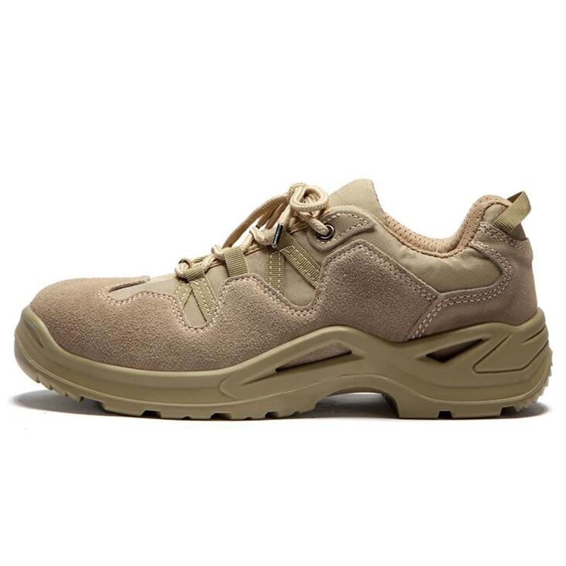 Plus size mens fashion ademend stalen neus veiligheid werkschoenen lederen laarzen antislip outdoor werknemer schoen zapatos-in Werk en veiligheidslaarzen van Schoenen op  Groep 1