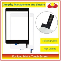 20Pcs DHL EMS High Quality For Ipad Mini 4 A1538 A1550 Touch Screen Digitizer Sensor Panel Glass Lens With Adhesive Black White