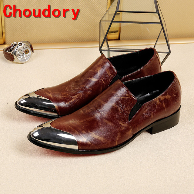 Choudory chaussure homme summer handmade wedding dress mens italian leather  shoes steel toe slip on loafers medium heel height 1e265e4b6ae0