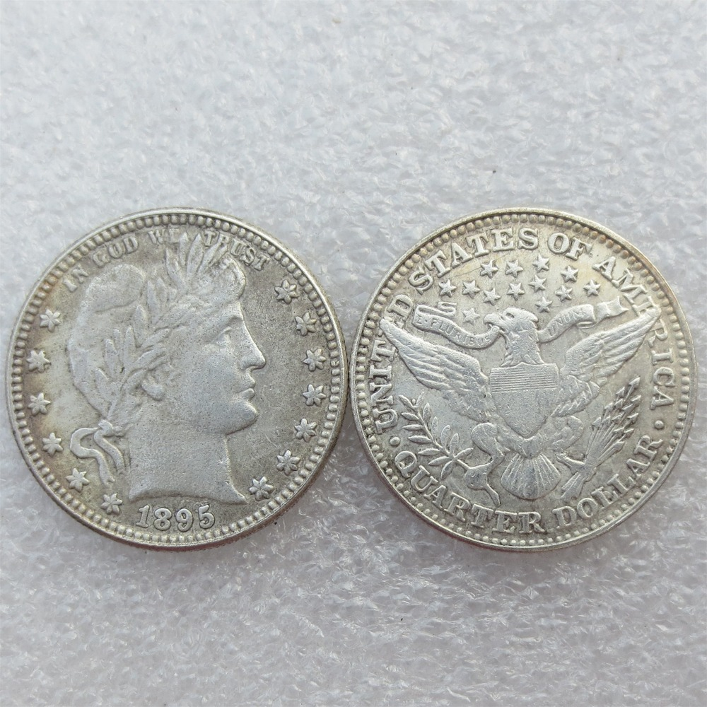 Barber Quarter Dollars Date 1895 1895O 1895S Different signs Material Silver Plated or 90% Silve Copy Coin Free Shipping