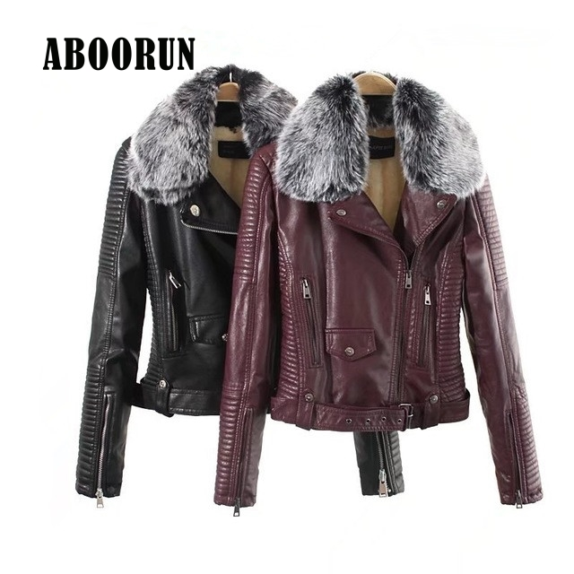 ABOORUN 2017 Winter Women PU Leather Biker Jacket Female Short Sleeve Faux Fur Collor Slim fit Leather Jacket P8023