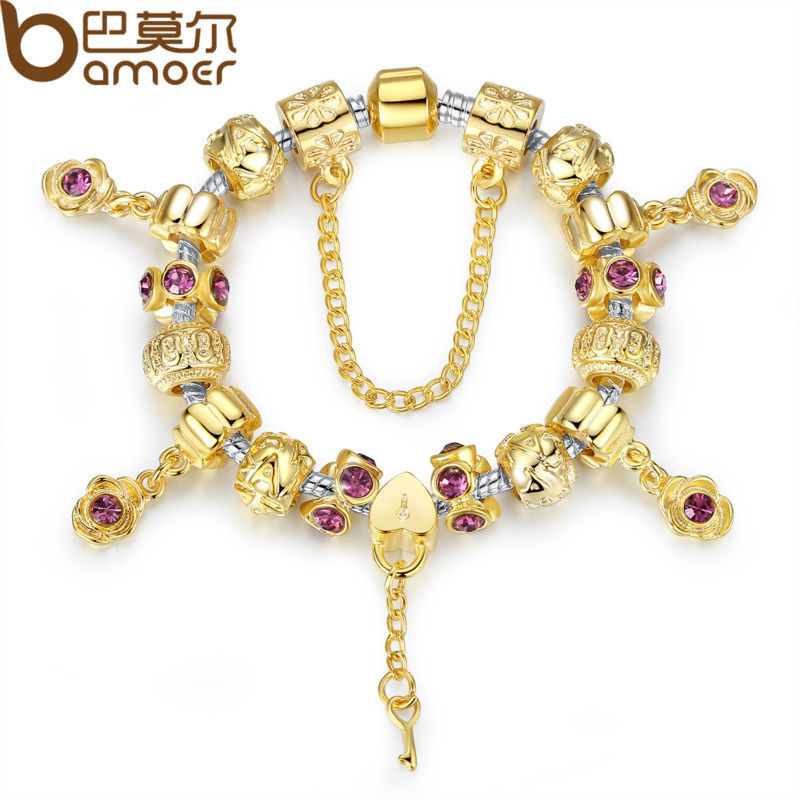 Charm Bracelets Gold: BAMOER Original Gold Color Heart Charm Bracelets For Women