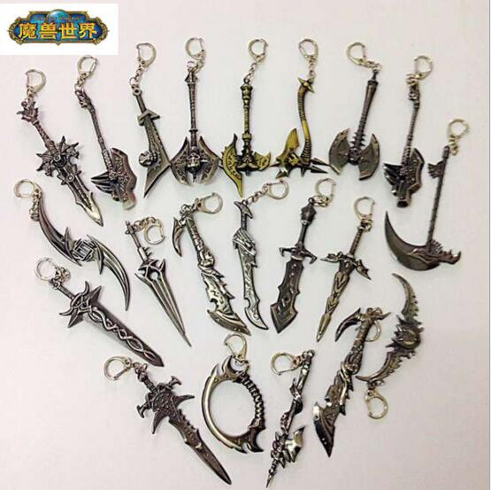 Movie WOW Alliance Figure Weapon Key Chain Sword WOW Keychain Chaveiro Frostmourne illidan Stormrage Warglaive of Azzinoth Blade world of warcraft wow resin action figure display toy doll illidan stormrage