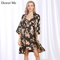 Dower Me 2017 Summer Women Pajamas Female Summer Homewear Lady Sexy Silk Robe Set Fashion Piijamas Sets