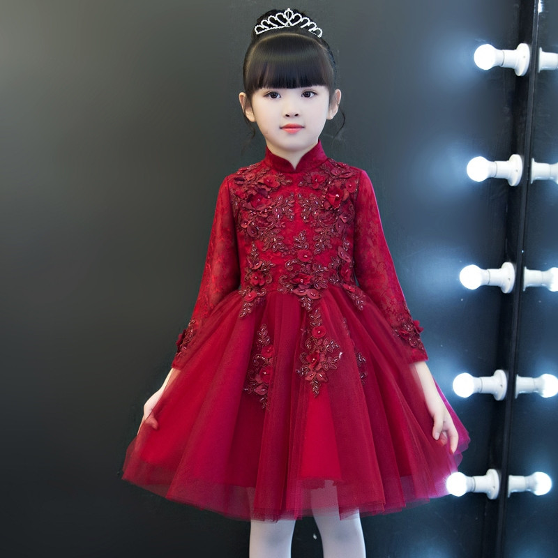2017 New Luxury Pink Color Long Sleeves Baby Girl Birthday Wear Dress Children Christening Wedding Evening Party Ball Gown Dress pink lace up design cold shoulder long sleeves hoodie dress