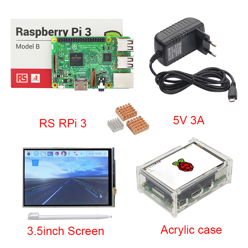 UK Raspberry Pi 3 + 3.5 inch Touchscreen TFT Display + Acrylic Case + 3A Power Adapter + Copper Aluminum Heat Sink RPI3 rs uk raspberry pi 3 3 5 inch hdmi touchscreen display acrylic case 2 5a power adapter copper aluminum heat sink for rpi3
