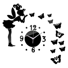 Modern design 3d mirror acrylic quartz wall clock of fairy and butterfly