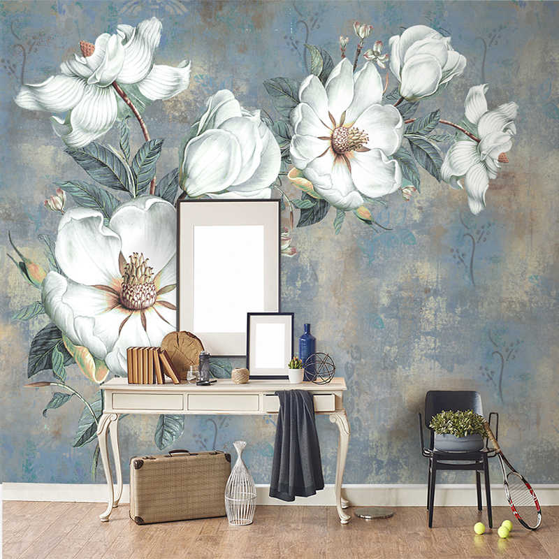 Custom Wallpaper Murals European Style Retro Art Abstract Oil Painting Flowers Wall Mural Painting Living Room Bedroom Wallpaper