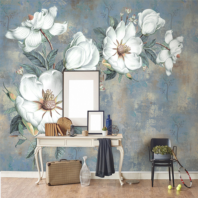 Wall Painting Living Room Light Grey Design Custom Wallpaper Murals European Style Retro Art Abstract Oil Flowers Mural Bedroom