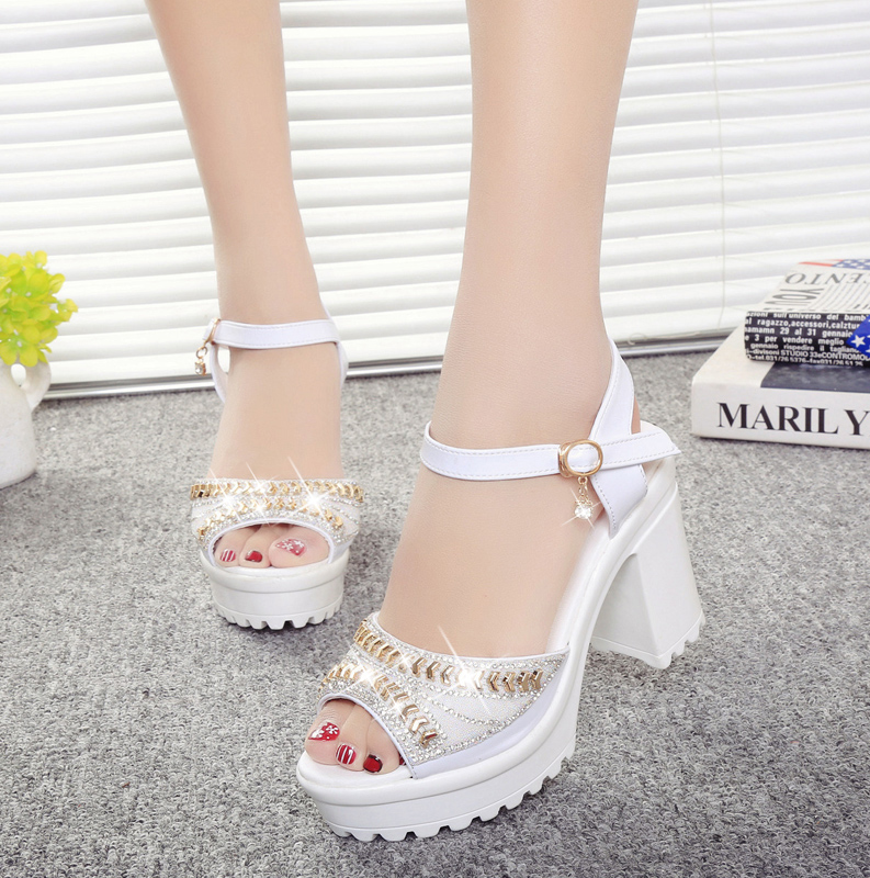 2019 summer new rhinestone fish mouth shoes thick bottom sponge cake waterproof platform high heel thick with sandals women