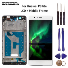 5.2 LCD Display Touch Screen Digitizer For HUAWEI P9 Lite LCD With Frame Sensor Glass Panel Assembly Replacement With Tool lcd display touch screen for prestigio muze e3 psp3531duo psp3531 muze d3 psp3530 digitizer panel sensor lens glass assembly