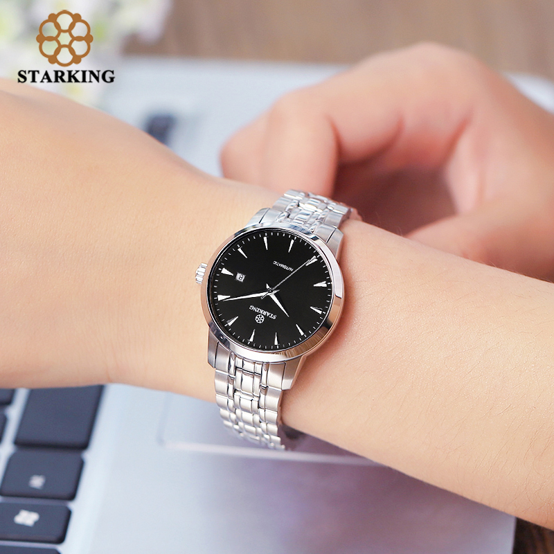 b187fa555f6 StarKing Mulheres Clássicas Simples Relógio Automático do Aço Inoxidável  Branco Dial Relógio de Pulso Auto Data Mecânico Ladies Relogio feminino em  Mulheres ...
