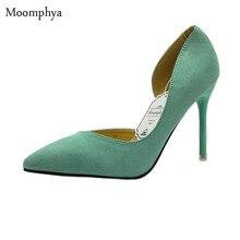 Острым носом каблуках высоких двух насосы замши туфли частей сексуальные свадебные