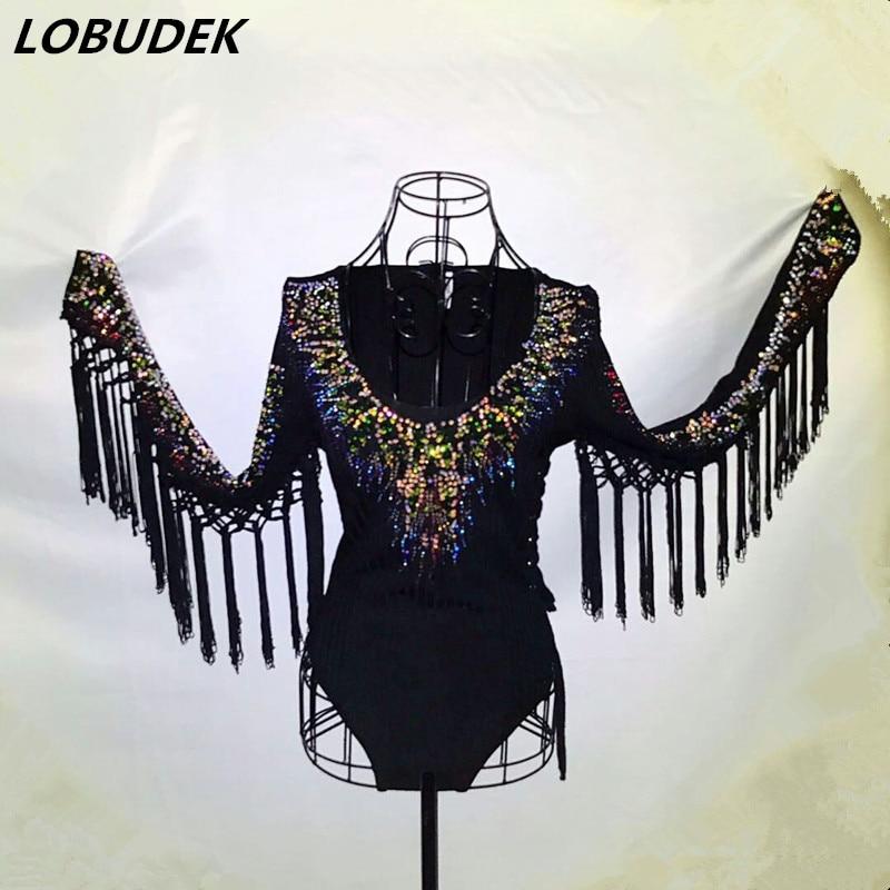 Coloré Discothèque Glands Afficher Body Tenue Costumes Femme Scintillant Cristaux Combinaisons De Noir Chanteur Strass Scène Danseur rRTqArE7xn