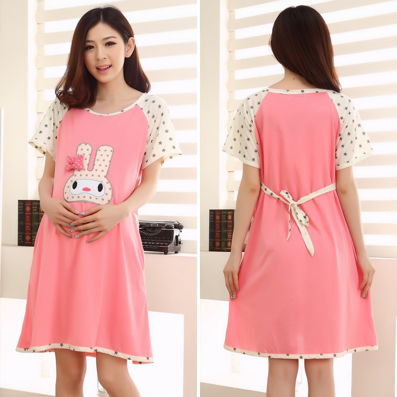 4d4fae0809 Summer Thin Cotton Breastfeeding Pajamas Expectant Mother Feeding Dress  Pregnant Women Pajamas with Short Sleeves -in Sleep   Lounge from Mother    Kids on ...