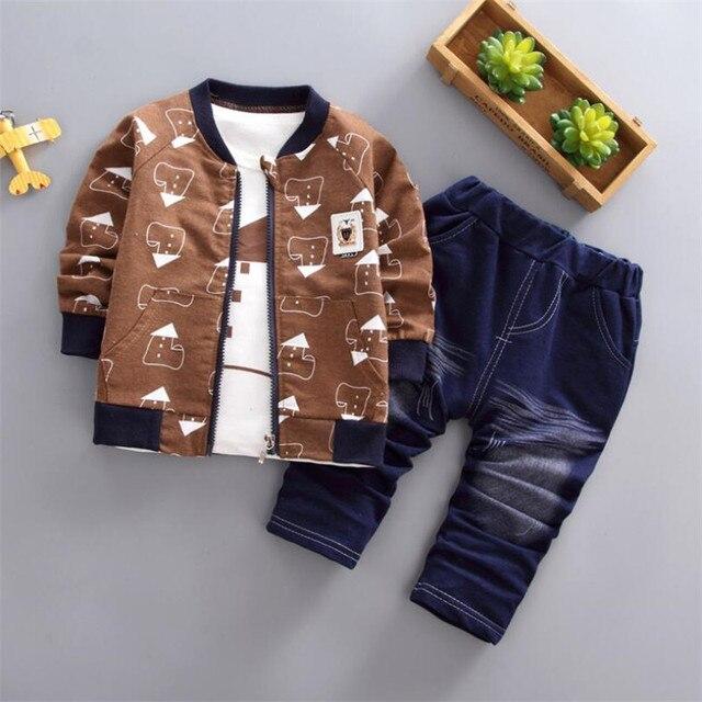 Костюм из трех предметов BibiCola, кофта, рубашка и штаны из хлопка для мальчиков, комплект одежды для весны и осени для ясельного возраста