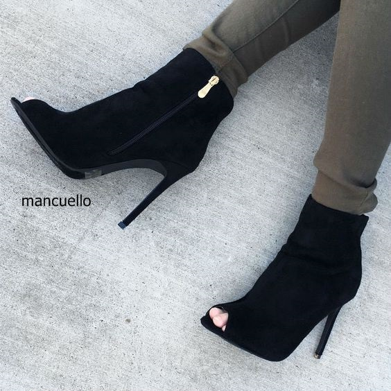 048387b3762a Elegant Women Black Suede Ankle Boots Stylish Peep Toe Stiletto Heels  Concise Design Side Zip Sandal Booties Pretty Women Shoes