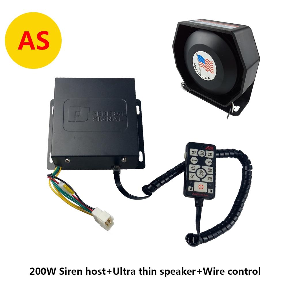 Loud 300w Siren 12v Car Police Metal Flat Speaker Ultra Slim 2 Transistor Electronic As Styling 200w Alarm Horn Wired Handle Mulit Tones