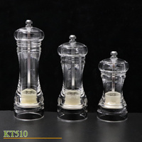 Manual Pepper Grinder Pepper Mill Shakers with Transparent Acrylic Body salt&pepper grinders small middle large set of 3