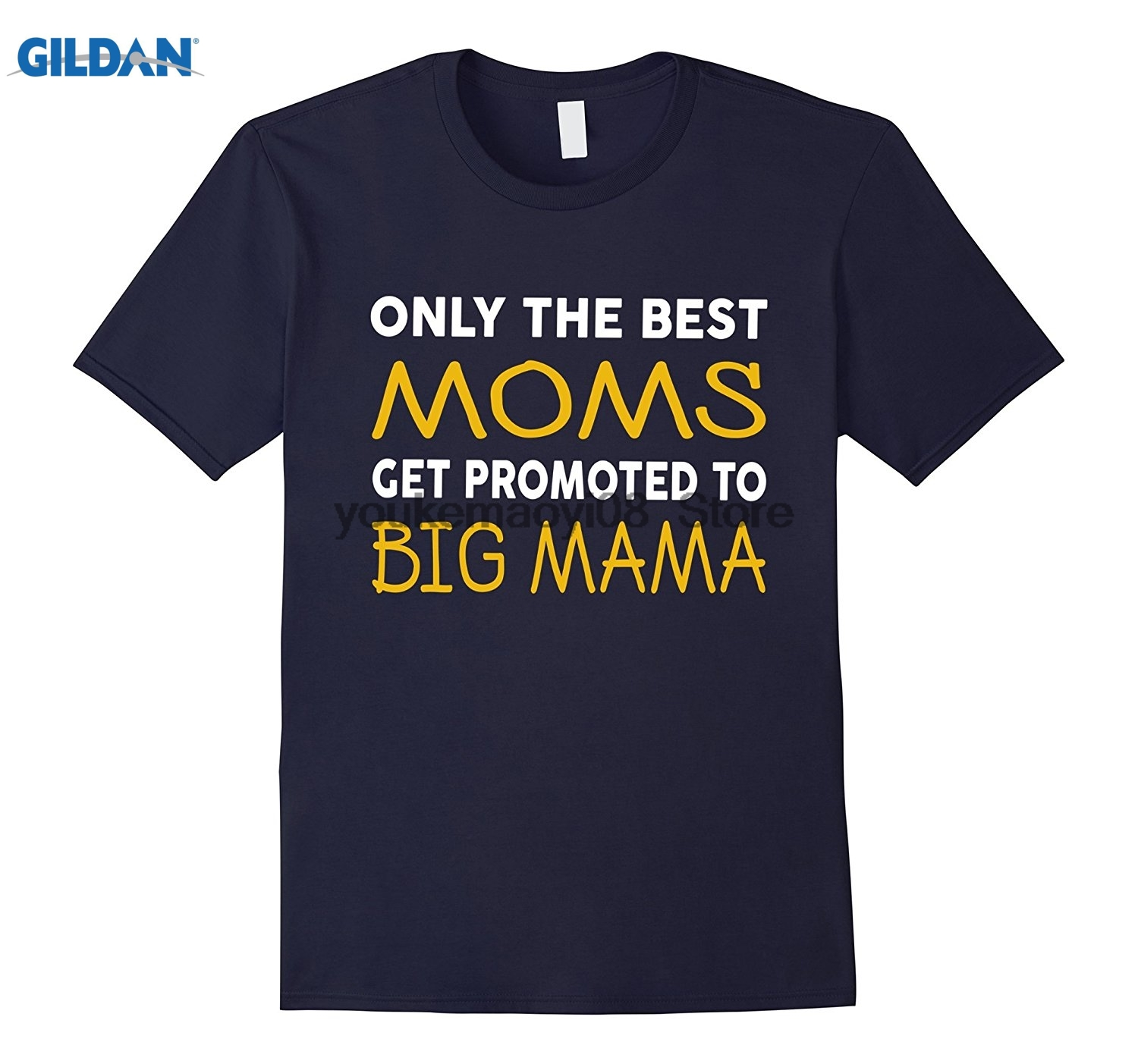 GILDAN cotton printed O-neck T-shirt Best Moms Get Promoted To Big Mama Grandma T-Shirts