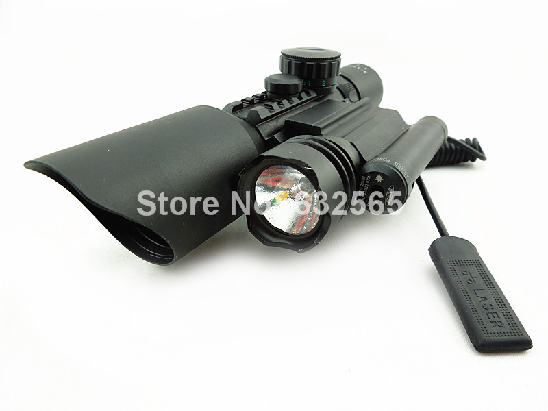 3 in 1 Compact Combo M9D Rifle Scope w/ Side Mounted Laser and Flashlight Tactical Red Green Illuminated Riflescope Sight 3 10x42 red laser m9b tactical rifle scope red green mil dot reticle with side mounted red laser guaranteed 100%